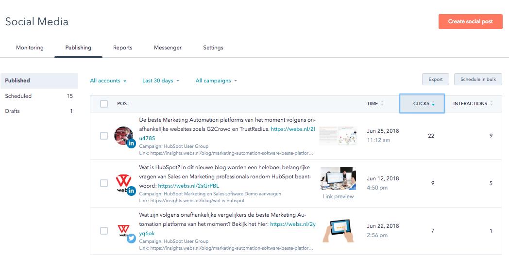 Hubspot feature Social media