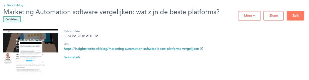 Feature van HubSpot Marketing tool: blog